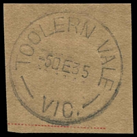 Lot 16972:Toolern Vale (2): - WWW #20 29½mm 'TOOLERN VALE/5DE35/VIC.'.  Renamed from Toolern PO c.1907; closed 2/9/1977.