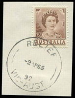 Lot 16974:Toolern Vale (2): - 'RELIEF/2AP65/92/VIC-AUST' on 2d brown QEII.  Renamed from Toolern PO c.1907; closed 2/9/1977.