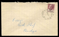 Lot 16975:Toolleen: - 'TOOLLEEN/26AU57/VIC' on 4d claret QEII on cover to Bendigo.  PO 12/7/1872; LPO 15/11/1993.