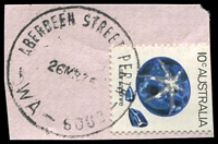 Lot 3520:Aberdeen Street: - 'ABERDEEN STREET PERTH/26MR75/WA-6000' (G31-b) on 10c Sapphire.  Renamed from Perth North West PO 1/4/1898; renamed Northbridge PO 30/1/1987.