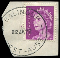 Lot 2985:Balingup: - 'BALINGUP/22JA72/WEST-AUST' on 7c purple QEII.  PO c.-/12/1885.