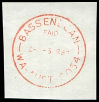 Lot 3361:Bassendean: - red 'BASSENDEAN/PAID/5-[P]5MR86/WA-AUST-6054' on piece.  Renamed from West Guildford PO 23/9/1923.