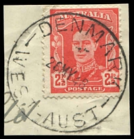 Lot 3422:Denmark (2): - 'DENMARK/26MY48/WEST-AUST' (E31 - ERD by 4 years) on 2½d red KGVI.  RO 15/2/1908; PO 2/11/1908.