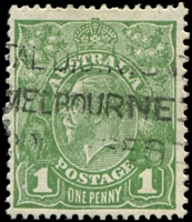 Lot 2915:1d Green - BW #81(4)sb Run N - retouched [VIII/60I], Cat $10, couple of short perfs.
