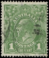 Lot 2254:1d Green BW #80(4)h [VII/37] Flaw under neck, Cat $30.