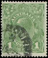 Lot 690:1d Green - BW #80(4)vb [VIII/60] Run N (third state), Cat $75.