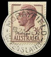 Lot 1547:Morayfield: - 'MORAYFIELD/■2AP52/QUEENSLAND' on 3½d brown KGVI (cut-to-shape). [Rated R]  RO c.1898; PO 1/7/1927; closed 5/5/1978.