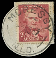 Lot 1682:Moresby (2): - 'MORESBY/3NO47/QLD.' on 2½d Shortland (cut-to-shape). [Rated 3R]  PO c.-/6/1947; closed 29/2/1984.