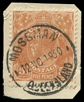 Lot 1550:Mossman: - 'MOSSMAN/12NO1930/QUEENSLAND' (type 20b - recut, ERD) on 5d brown KGV. [Rated 2R]  Renamed from Mossman River PO c.1899.