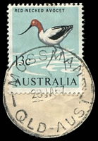 Lot 7765:Mossman: - 'MOSSMAN/20JA67/QLD-AUST' (type 50a - arcs 4,4 - LRD) on 13c Avocet (cut-to-shape). [Rated 2R by Smithies]  Renamed from Mossman River PO c.1899.