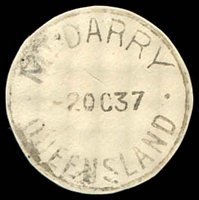 Lot 9119:Mount Darry: - 'MT DARRY/2OC37/QUEENSLAND' (cut-to-shape). [ERD - Rated 3R]  RO c.1898; PO 1/7/1927; TO 1/2/1966.