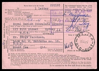 Lot 1977 [2 of 2]:Mount Isa: - 2 strikes of 'MT.ISA/21AU61/QLD-AUST' (arcs 5,4½ - LRD), on pink Advice of Delivery card sent from Royal Danish Consulate General also cancelled with 'G.P.O.SYDNEY 117/4P17AU61/N.S.W-AUST' on 9d Roos (B1). [Rated 3R by Smithies]  PO 1/8/1924.