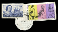 Lot 1978:Mount Isa: - 'MT.ISA/5OC71/1/QLD-AUST' (arcs 12,12), on 7c Aust/Asia & 40c Tasman (cut-to-shape). [Rated 3R - only recorded date]  PO 1/8/1924.