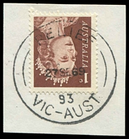 Lot 12309:Bulleen South (2): - 'RELIEF/27SE69/93/VIC-AUST', on 1c brown QEII. [Issued with relief when PO opened - recorded used 3/9/69 - 27/9/69]  Renamed from Bulleen PO 3/9/1969; LPO 23/4/1994.