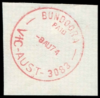 Lot 2431:Bundoora (1): - WWW #510A 'BUNDOORA/PAID/8AU74/VIC-AUST-3083', in red. [Rated R]  PO 1/10/1863; renamed Bundoora Mail Delivery Annexe DC c.1992.