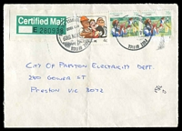 Lot 12718:Camberwell (1): - WWW #242 2 strikes of 32½mm 'POST OFFICE/4JUN1989/813 1609/CAMBERWELL VIC.3124', on 4c Living Together & 70c Sports x2 on cover with green & white Certified Mail label, addressed to Preston, Victoria. [Rated 2R]  PO 12/10/1864; renamed Camberwell Delivery Centre DC c.-/10/1994.