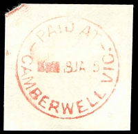 Lot 2444:Camberwell (1): - WWW #910E 'PAID AT/■■■18JA[6]5/CAMBERWELL VIC.', (price turned off, space for decade wheel) in red. [Rated 2R]  PO 12/10/1864; renamed Camberwell Delivery Centre DC c.-/10/1994.