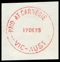 Lot 2454:Carnegie: - WWW #520E 'PAID AT CARNEGIE      /17DE73/VIC-AUST', (S.E.9 removed, dateline centered) in red. [Rated 2R]  PO 1/9/1911.