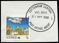 Lot 16787:Tottenham Central: 'TOTTENHAM CENTRAL/VIC. 3012/01MAY1990/POST OFFICE AGENT', on 1c Living Together.  PO 1/5/1947; LPO 12/3/1993.