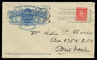 Lot 1103:Mervyn Dines 1940 cover with awards banner for Excelsior Confectionery Works, Toowoomba, 2d red KGVI cancelled with Toowoomba machine, addressed to Brisbane.
