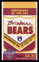 Lot 814:1996 $4.50 Centenary of AFL - Brisbane Bears BW #B208Bc Queensland Stamp and Coin Expo overprint, Cat $10, Pfeffer #B188(1).