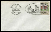 Lot 4782:1977 Centenary of Test Cricket pictorial Melbourne Cricket Ground Test Cricket Centenary cancel 9 Mar 1977 (first day of issue) on 18c Cricket on unaddressed plain cover.