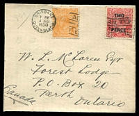 Lot 844:1930 use of ½d orange & 2d on 1½d red KGV Surcharge on small cover addressed to Ontario, Canada, cancelled with Brisbane slogan cancel 4 AUG 1930, some toning on stamp perfs and part of flap missing.