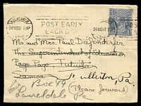 Lot 992:1931 use of 3d blue KGV machine cancelled Melbourne 24NO31, addressed to Samoa and re-directed to Philadelphia, USA.