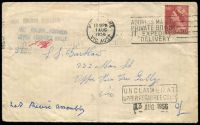 Lot 3447:Upper Ferntree Gully: - 'NOT KNOWN POSTMEN/UPPER FERNTREE GULLY' and boxed 'UNCLAIMED AT/UPPER FERNTREE GULLY' cachets on cover franked with 3½d red QEII and cancelled with Melbourne 1AUG1956 slogan .  PO 25/4/1890; LPO 26/8/1993.