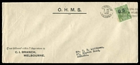 Lot 2112:1d Green Overprinted 'OS' BW #82(OS) on OHMS C.I.Branch, Melbourne long cover, cancelled with 22 June 1932 Melbourne slogan, Cat $80, a few toned perfs.