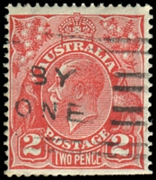 Lot 2114:2d Red Die III [BB12] booklet plate Compartment line starting 6mm above LRC, Wmk inverted, blunt perfs along base.