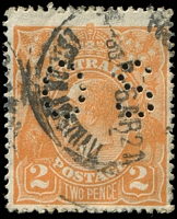 Lot 2115:2d Orange Die I - [B3] perf 'OS' with Notch in lower frame about 5mm from BLC and flaw below frame nearby
