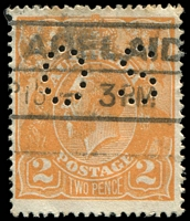 Lot 368:2d Orange Die I - [B9] perf 'OS' with Large flaw in lower frame towards BRC, couple of small tone spots.