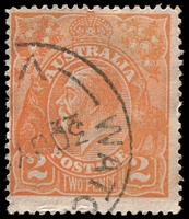 Lot 543:2d Orange Die I - [BXXVIII13] Spot in emu's tail and line within lower frame in right half of right projecting point