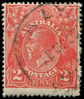 Lot 609:2d Red Die I - BW #96(12A)j [12AR54] Recut 2 at right, and broken top to crown, Cat $75, couple of short perfs and light tone spots.