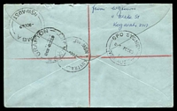 Lot 6479 [2 of 2]:Australia Square: - 2 poor strikes of 'AUSTRALIA SQUARE/7OC69/NSW-AUST', on 7c Sugar x4 & 2c AAT on Brown cover with blue registration label.  PO 4/12/1967.