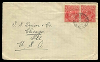 Lot 1287:Jindera: - framed 'JINDERA/OC2/1929/N.S.W' on 1½d red KGV pair on cover to Chicago, USA.  Renamed from Dight's Forest PO 1/6/1885.