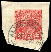 Lot 7309:Alice Springs: - 29mm 'ALICE SPRINGS/28JL36/[N.T.]' on 2d red KGV.  PO 1/1/1878.