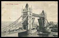 Lot 521:Great Britain: black & white PPC 'Tower Bridge, London', National Series card No. S.V. 419, pencil message on back, few tone spots on front.