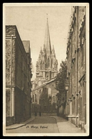 Lot 85:Great Britain: Penrose and Palmer black and white PPC 'St. Marys, Oxford', view of the church from narrow street, minor corner bend and a few tone spots.