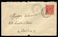 Lot 1677:Silkwood: - 2 strikes of 'SILKWOOD/10SE37/QUEENSLAND' on 2d red KGV on cover to Brisbane. [Rated S]  Renamed from Maria Creek RO c.-/7/1911; PO c.1920.