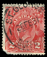 Lot 9251:St. George: - 28mm 'ST.GEORGE/26FE31/QUEEN[SLAND]' on 2d red KGV.  PO 1/1/1864.