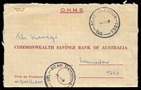 Lot 10816:Boat Harbour: - 2 strikes of 'BOAT HARBOUR/16JL82/TAS-7321', on stampless OHMS Commonwealth Bank cover to Launceston.  PO 1/11/1878.