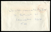 Lot 11236:Penguin: - red 'PENGUIN/PAID/8JA90/TAS-AUST-7316' on cover (torn TRC), addressed to Launceston.  Renamed from Penguin Creek PO 1/7/1895.