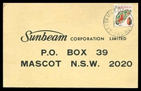 Lot 1576:Seven Mile Beach: - 'SEVEN MILE BEACH/17SE74/TAS-AUST' on 7c Agate on Sunbeam advertising card.  PO 26/11/1946; closed 28/10/1993.
