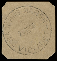 Lot 2526:Bacchus Marsh: - WWW #130a 'BACCHUS MARSH/28SE45/VIC-AUST' on piece. [Rated 2R]  Renamed from Ballan PO 1/7/1850.
