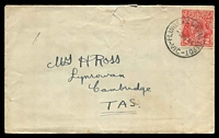 Lot 2490:Flinders Naval Depot: - WWW #10A 'FLINDERS NAVAL DEPOT/2AP34/VIC' on 2d red KGV on roughly opened cover to Tasmania.  Renamed from Flinders Naval Base PO 1/9/1925; renamed H.M.A.S. Cerberus, Westernport PO 1/3/1963.