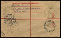 Lot 3124 [2 of 2]:Victoria Market: - WWW #70A 'VIC.MARKET MELB.C.1./2NO64/2/VIC-AUST' (A1 backstamp) on 2/5d QEII Registered Envelope with blue registration label.  Renamed from Elizabeth Street North PO c.-/7/1917; replaced by A'Beckett Street PO 30/6/1989.