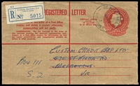 Lot 3124 [1 of 2]:Victoria Market: - WWW #70A 'VIC.MARKET MELB.C.1./2NO64/2/VIC-AUST' (A1 backstamp) on 2/5d QEII Registered Envelope with blue registration label.  Renamed from Elizabeth Street North PO c.-/7/1917; replaced by A'Beckett Street PO 30/6/1989.