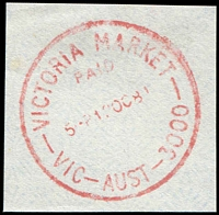 Lot 3288:Victoria Market: - WWW #610 red 'VICTORIA MARKET/PAID/5P1?OC81/VIC-AUST-3000' (arcs 4,4½) on piece.  Renamed from Elizabeth Street North PO c.-/7/1917; replaced by A'Beckett Street PO 30/6/1989.